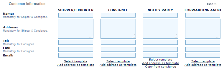 Web Based Input Of Bl Shipping Instructions
